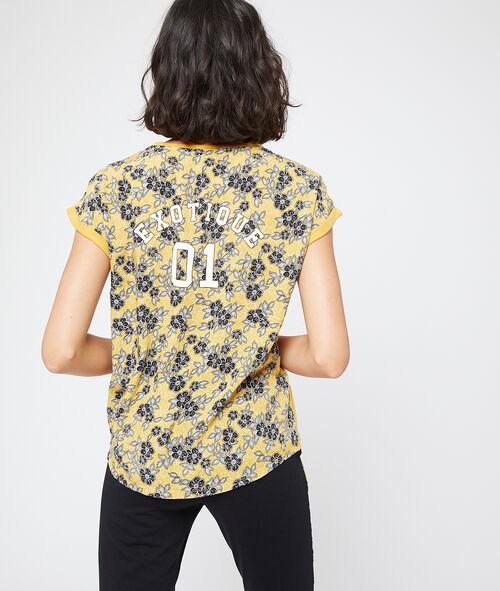 """T-shirt z tyłem w kwiatowy deseń i napisem """"exotique"""""""