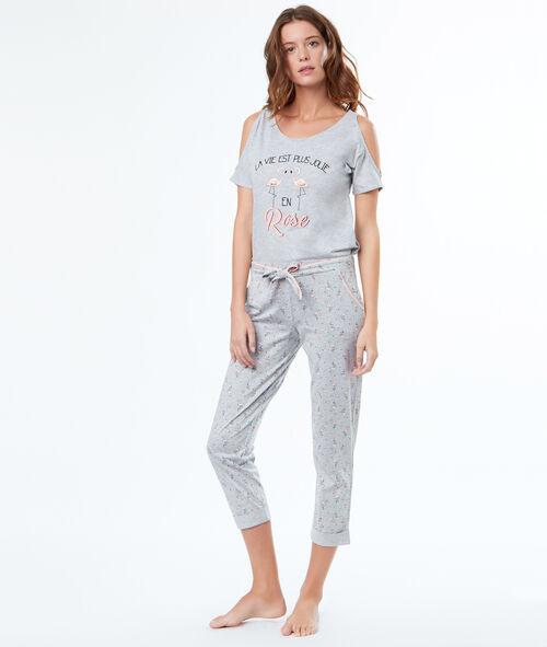 T-shirt z odkrytymi ramionami i napisem