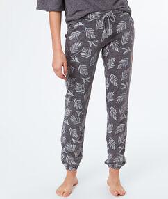 Spodnie z motywem liści gris.