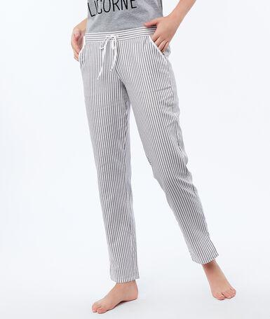 Spodnie w paski ecru.