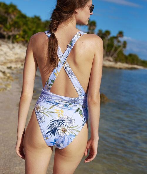 Jednoczęściowy kostium kąpielowy, skrzyżowane ramiączka na plecach