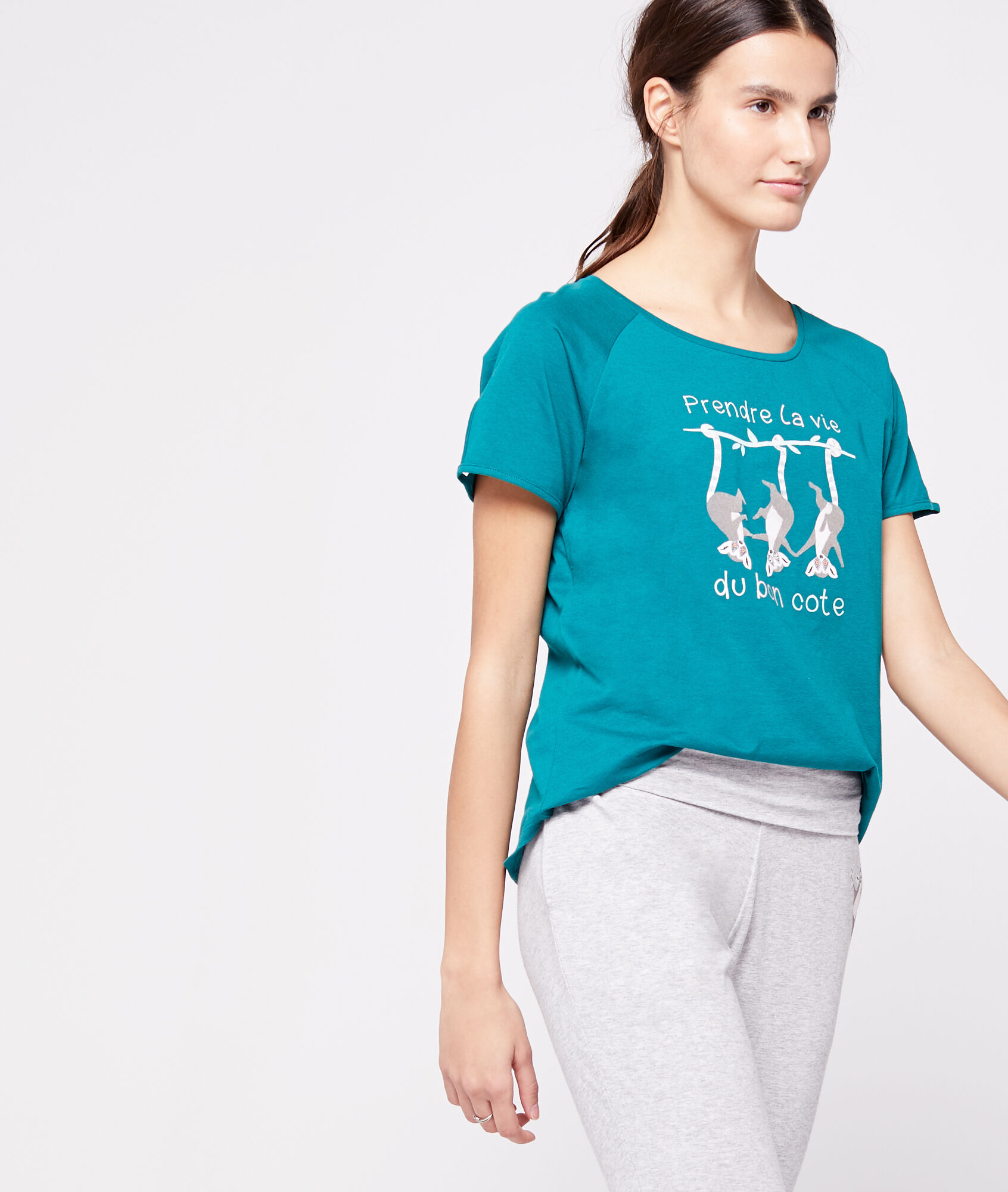 RAPHAELLE T-shirt z organicznej bawełny z napisem 'prendre la vie du bon côté'