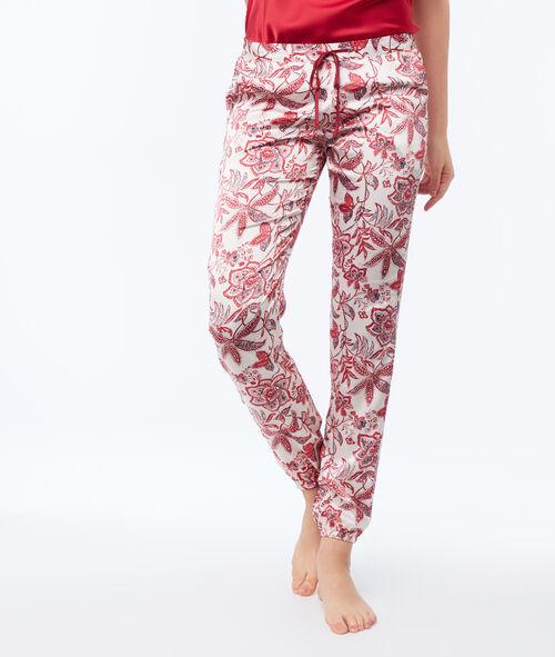 Satynowe spodnie ze ściągaczem na kostkach