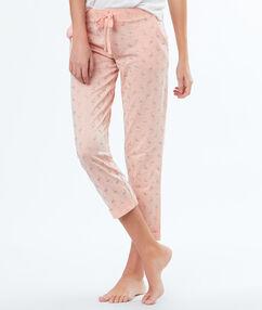 Spodnie 3/4 z motywem połyskujących różowych flamingów rose.