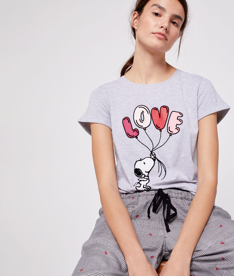T-SHIRT Z MOTYWEM PSA SNOOPY I NAPISEM 'LOVE'