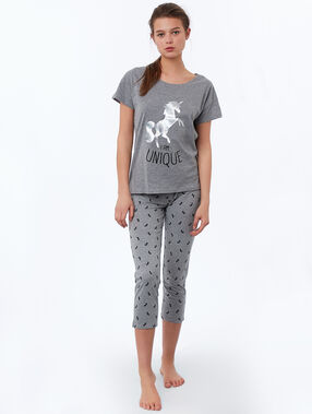 T-shirt z nadrukiem jednorożca i napisem gris.