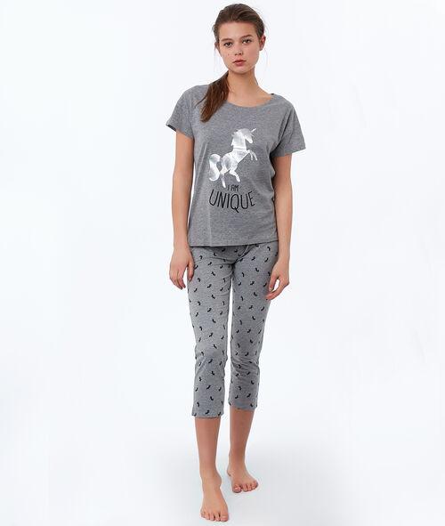 T-shirt z nadrukiem jednorożca i napisem