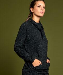 Bluza sportowa z wyższym kołnierzem czarny.