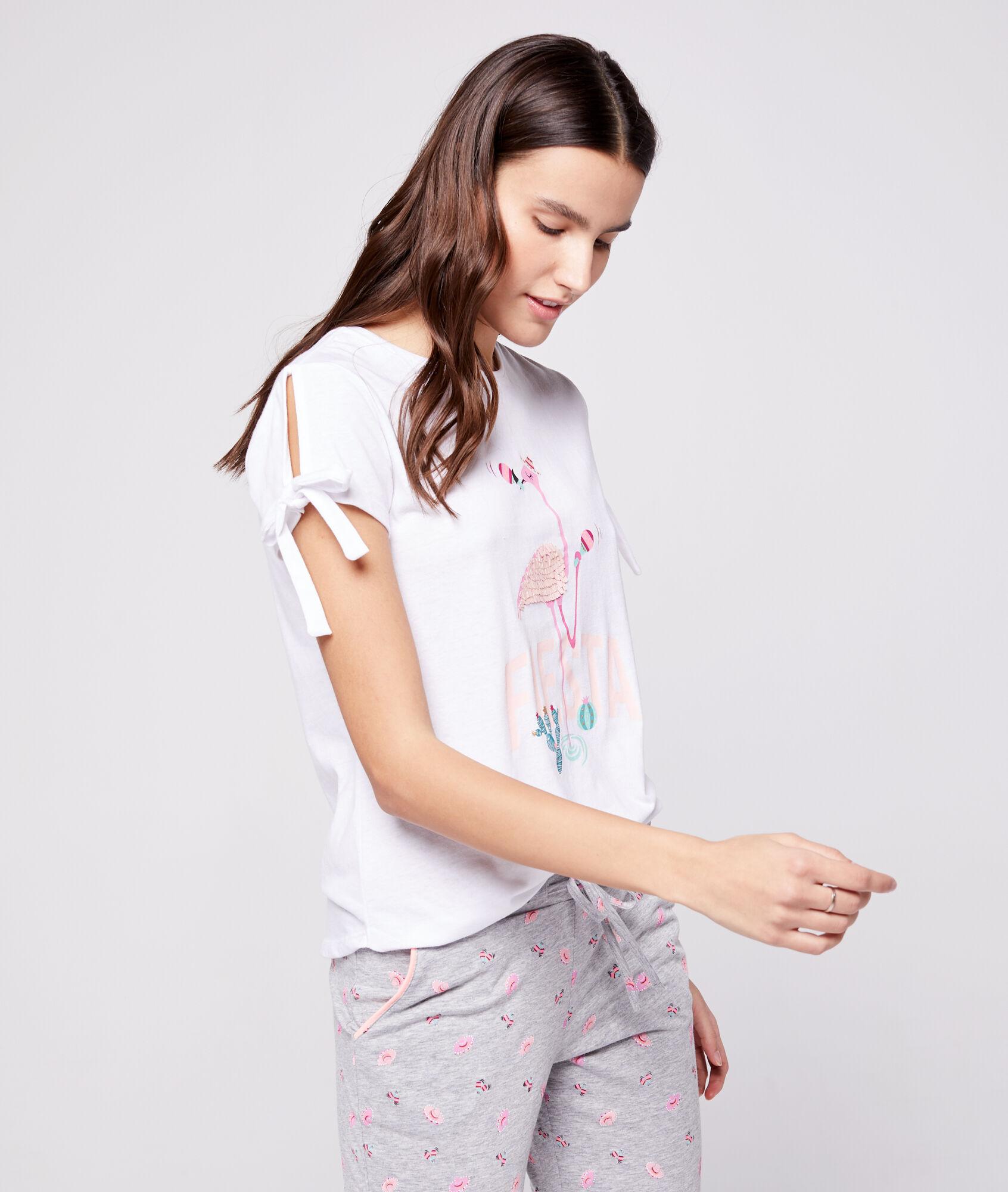FILIPPO T-shirt z nadrukiem różowego flaminga