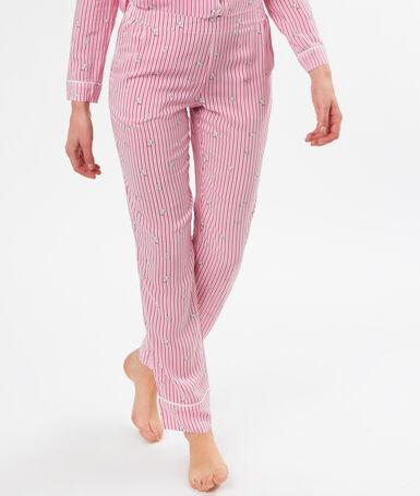 Spodnie w prążki z motywem kotka rose.