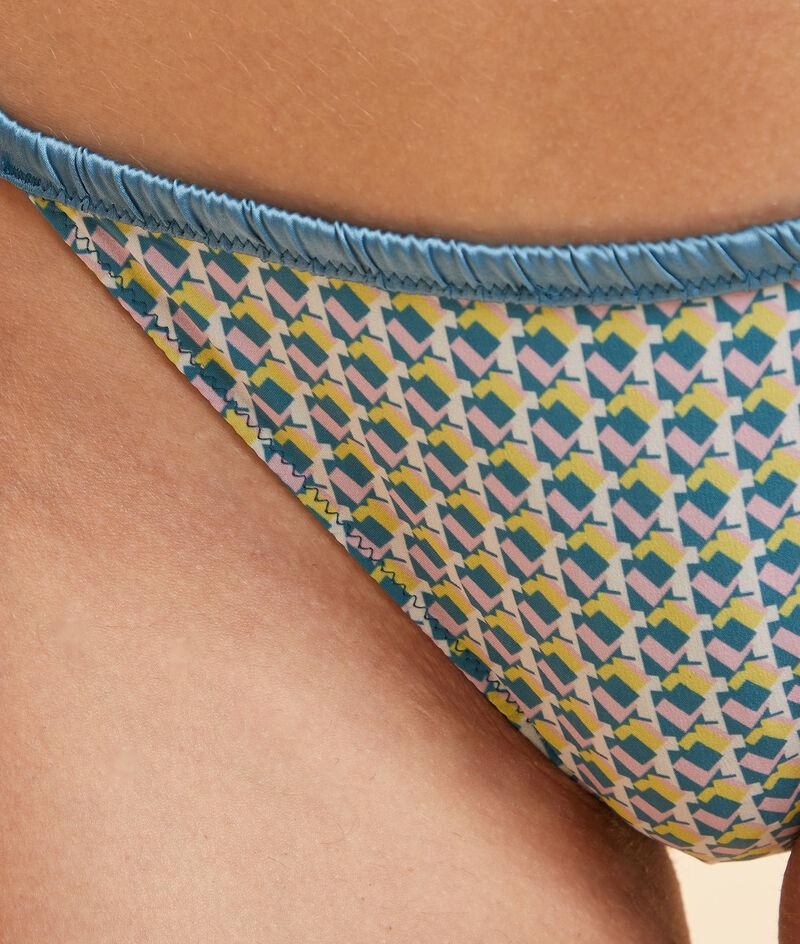 Wzorzyste majtki bikini z koronkowym tyłem;${refinementColor}