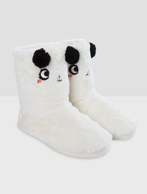 Bamboszki pandy wyściełane futerkiem ecru.