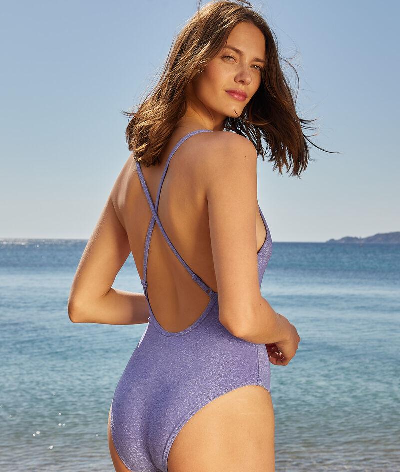 Jednoczęściowy kostium kąpielowy z błyszczącą nitką, skrzyżowane ramiączka na plecach;${refinementColor}