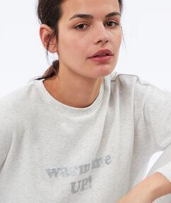 Miękka i ciepła bluza w deseń typu melanż z napisem ecru.