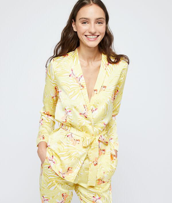 Satynowa koszula od piżamy z odzyskanego poliestru wiązana paskiem;${refinementColor}