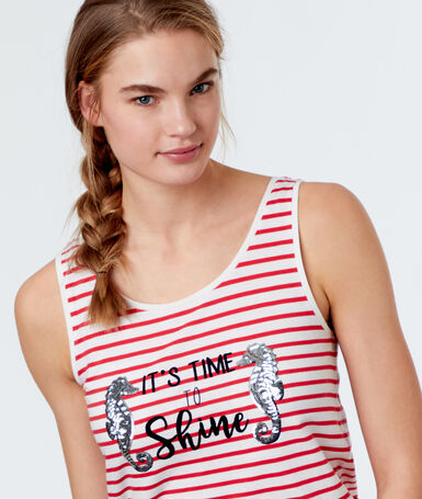 T-shirt w paski z nadrukiem rose.