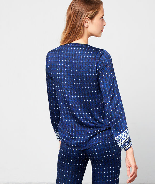 Satynowa koszula od piżamy z nadrukiem