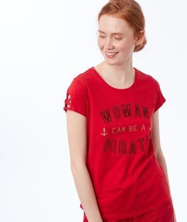T-shirt z nadrukiem i napisem rouge.