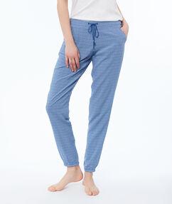 Wzorzyste spodnie bleu.