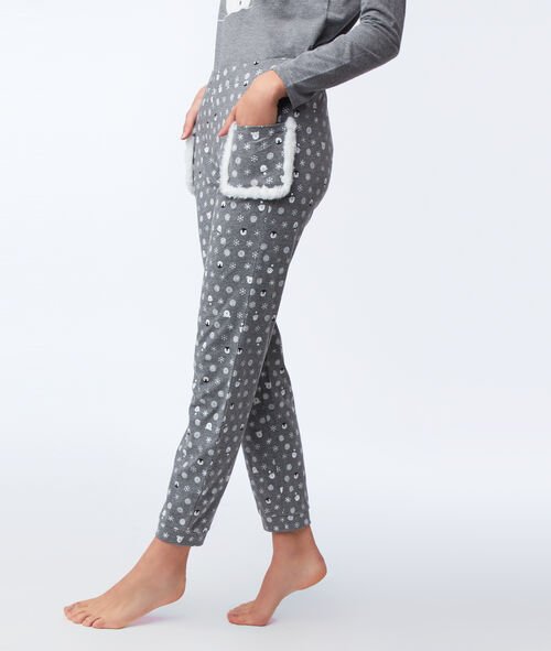 Wzorzyste spodnie z kieszeniami ze sztucznym futerka