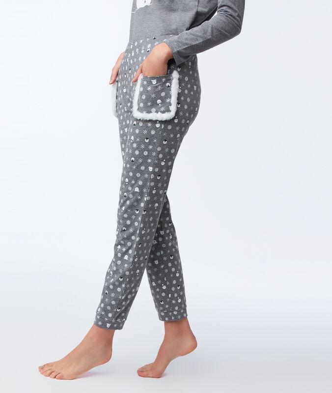 Wzorzyste spodnie z kieszeniami ze sztucznym futerka anthracite.