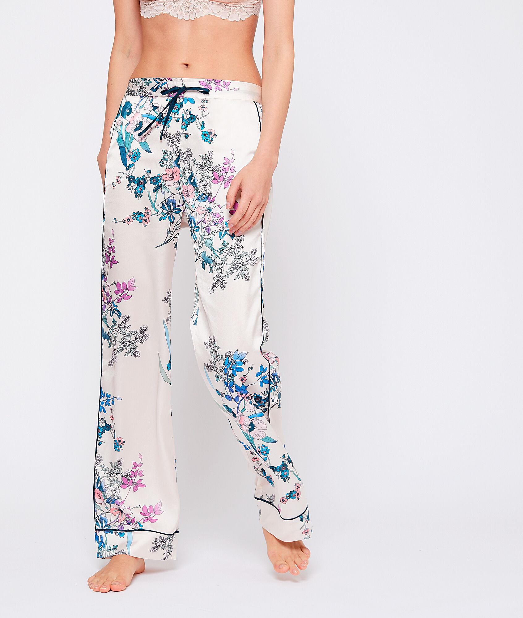 AQUARELLE Satynowe spodnie w kwiatowy deseń