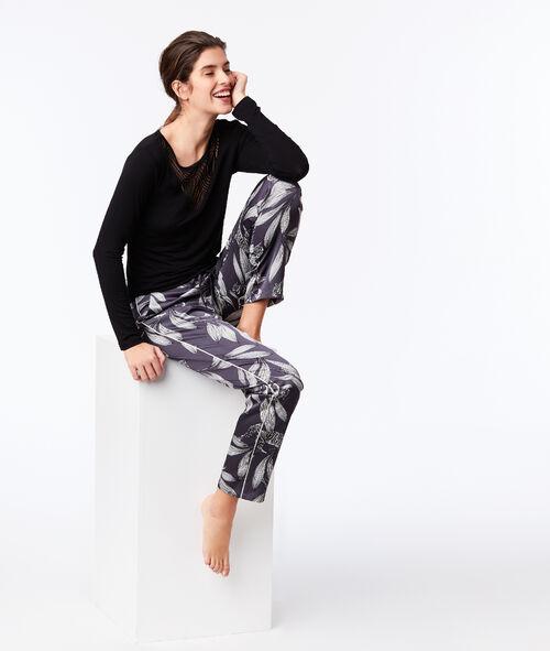 Spodnie z szerokimi nogawkami w roślinny deseń