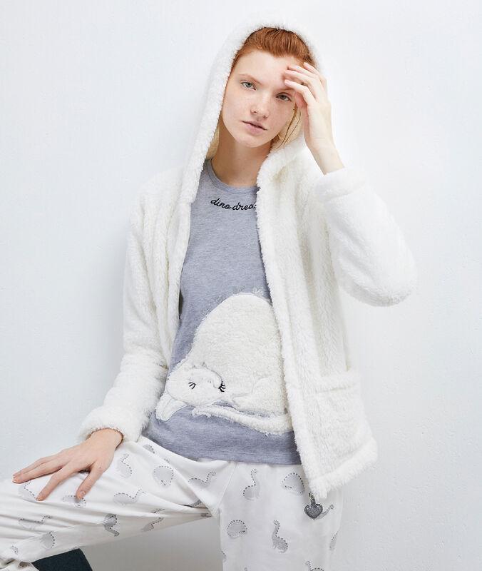Piżama trzyczęściowa z marynarką z przytulnego materiału white.
