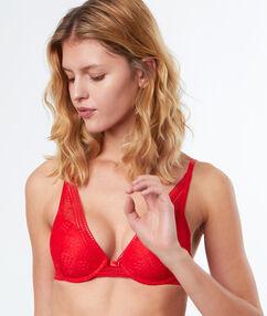 Soutien-gorge triangle coque fine, en dentelle rouge.