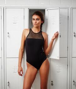 Jednoczęściowy kostium kąpielowy modelujący, wstawki z siateczki noir.