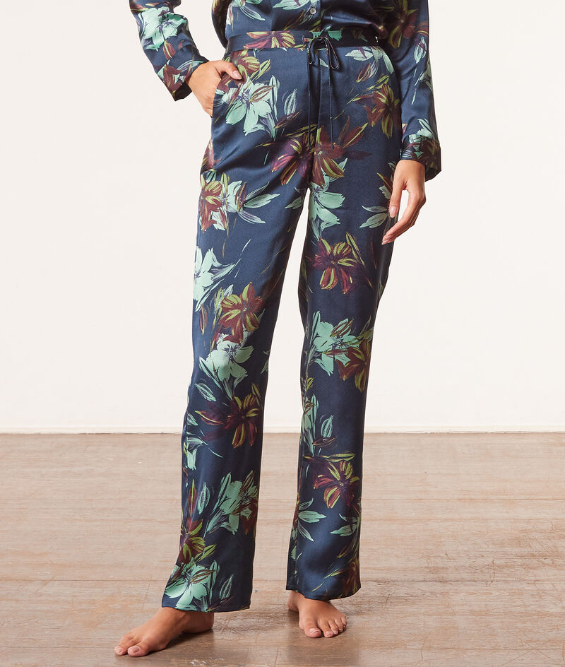 Satynowe spodnie od piżamy z nadrukiem;${refinementColor}