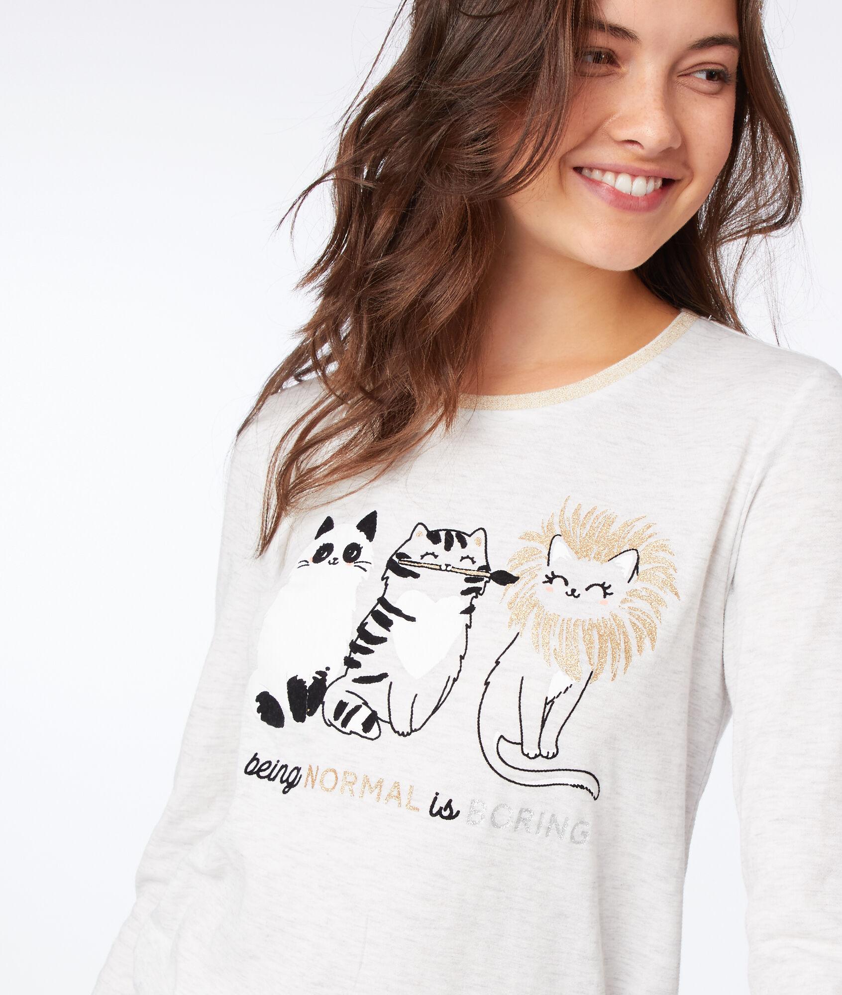 BRUCE Koszulka nocna z nadrukiem kotka