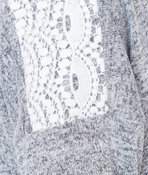 Koszulka z dzianiny melanż, detal koronka gipiurowa i odkryte plecy