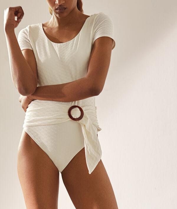 Jednoczęściowy kostium kąpielowy z paskiem i klamrą;${refinementColor}
