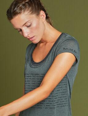 Sportowa bluzka z efektem 2w1 kaki.