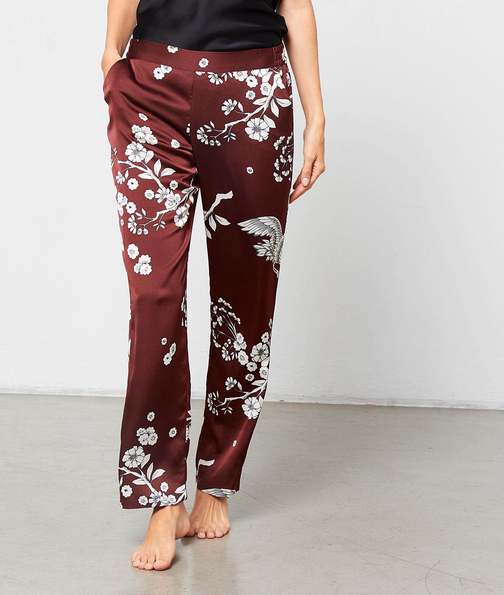 FEDORA Satynowe spodnie z nadrukiem