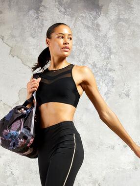 Biustonosz sportowy, wyjmowane poduszeczki - mocne podtrzymanie noir.