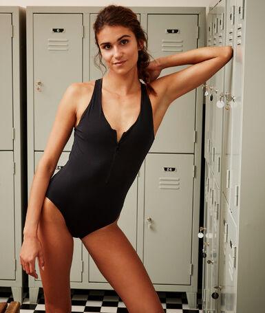 Jednoczęściowy kostium kąpielowy zapinany na zamek błyskawiczny noir.