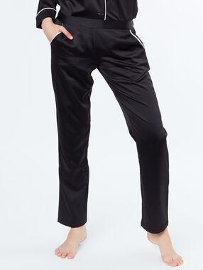 Satynowe spodnie z  kieszeniami w kontrastowym kolorze noir.