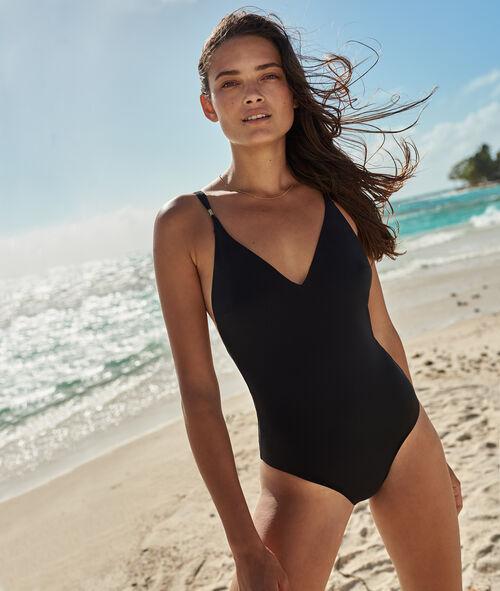 Jednoczęściowy kostium kąpielowy, wiązanie eksponujące plecy