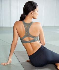 Biustonosz sportowy z efektem push-up i wycięciem na plecach w stylu bokserskim - średnie podtrzymanie kaki.