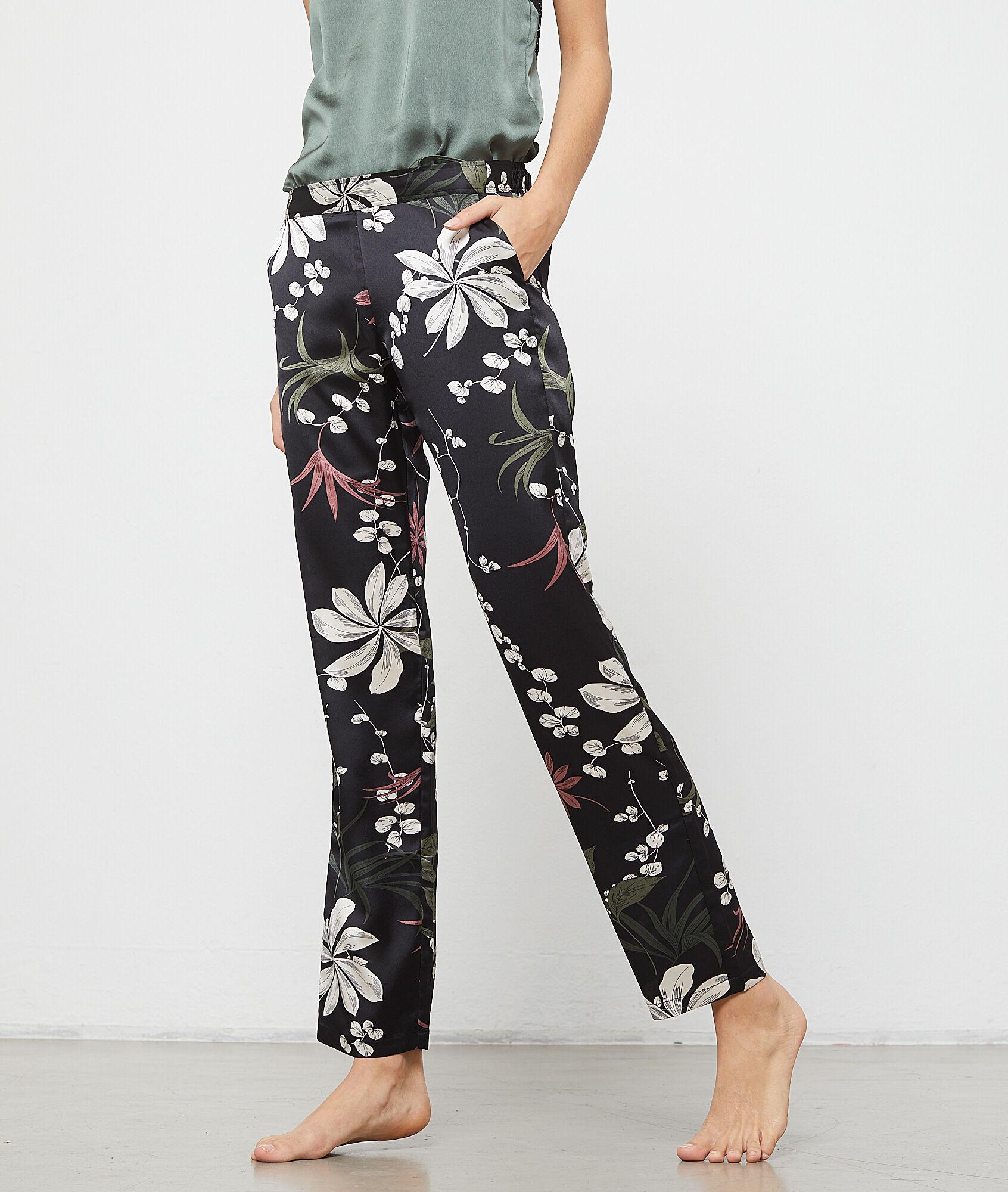 STELLA Satynowe spodnie z kwiatowym nadrukiem