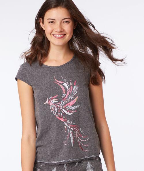 T-shirt z nadrukiem ptaka