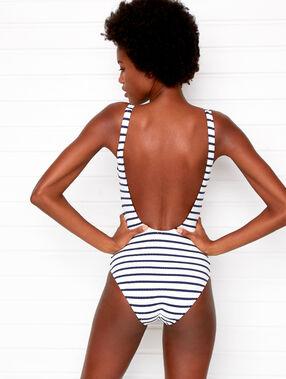 Jednoczęściowy kostium kąpielowy w paski ecru.