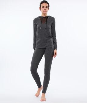 Top homewear z kapturem i dekoltem z siateczki gris.