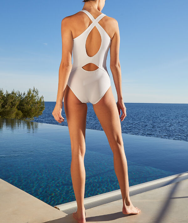 Jednoczęściowy kostium kąpielowy sportowy z ramiączkami skrzyżowanymi na plecach;${refinementColor}