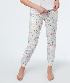 Spodnie z motywem tukanów blanc.