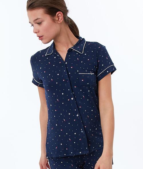 Koszula od piżamy z motywem gwiazdek i błyskawic