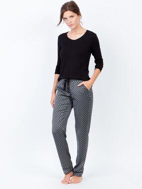 Lejące spodnie od piżamy w deseń czarny.