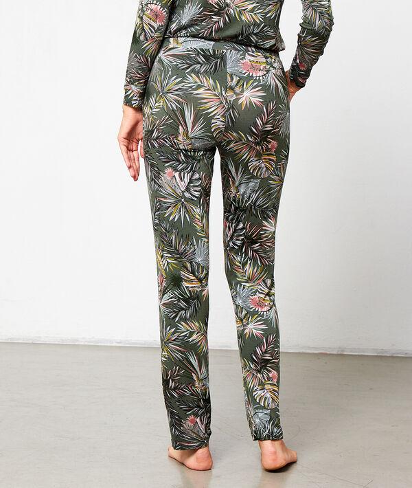 Spodnie z wiskozy w tropikalne motywy